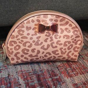 Ulta Beauty Pink Metallic Leopard Makeup Bag Case